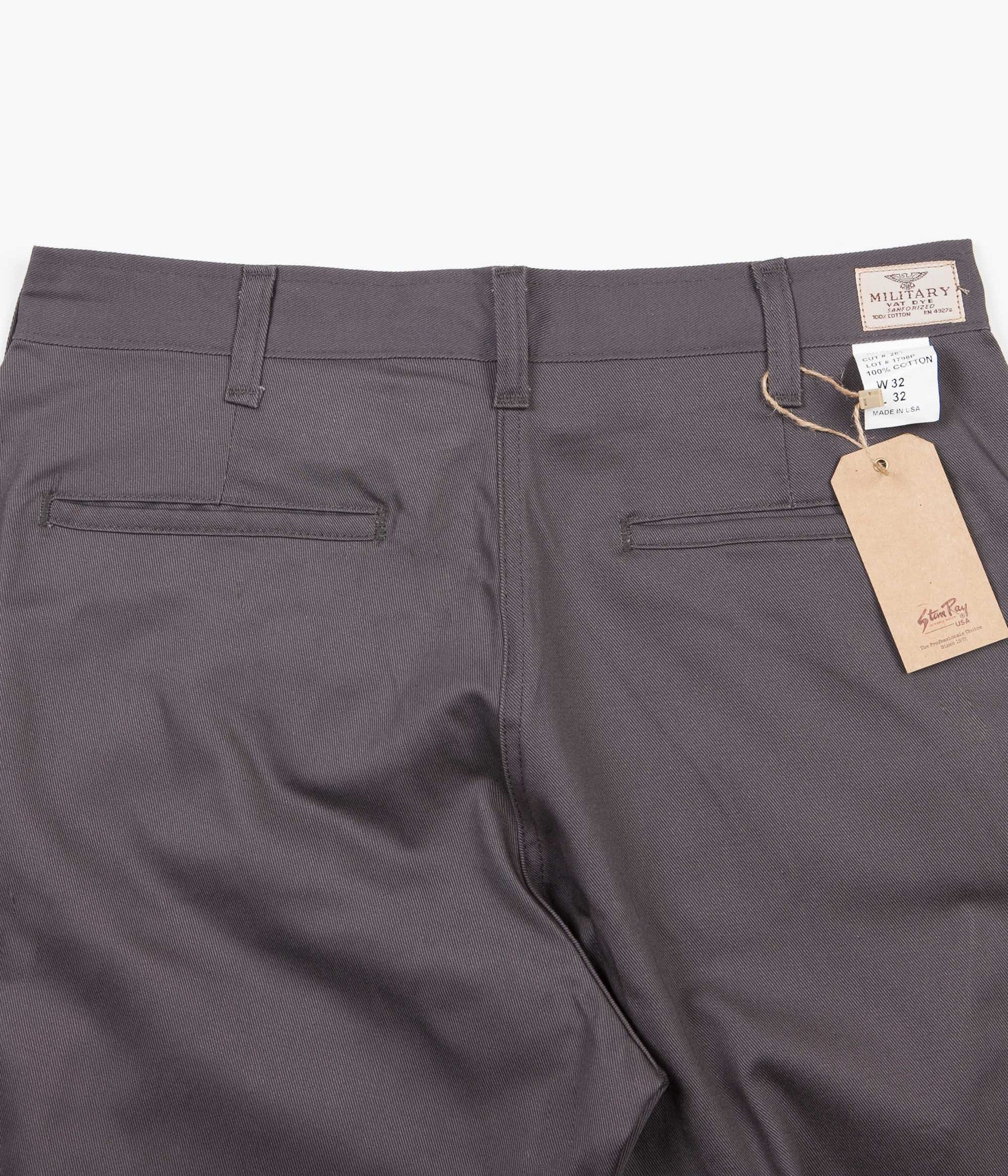 Stan Ray Military Chino Trousers - Charcoal Twill