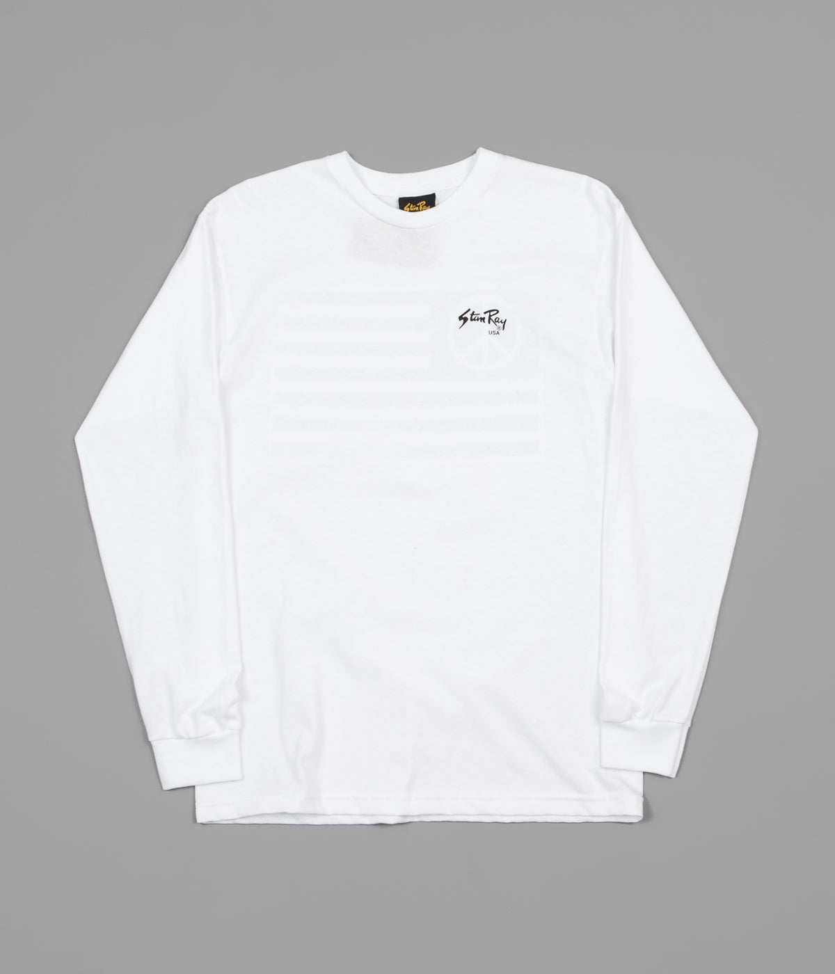 Stan Ray Peace Stripe Long Sleeve T-Shirt - White