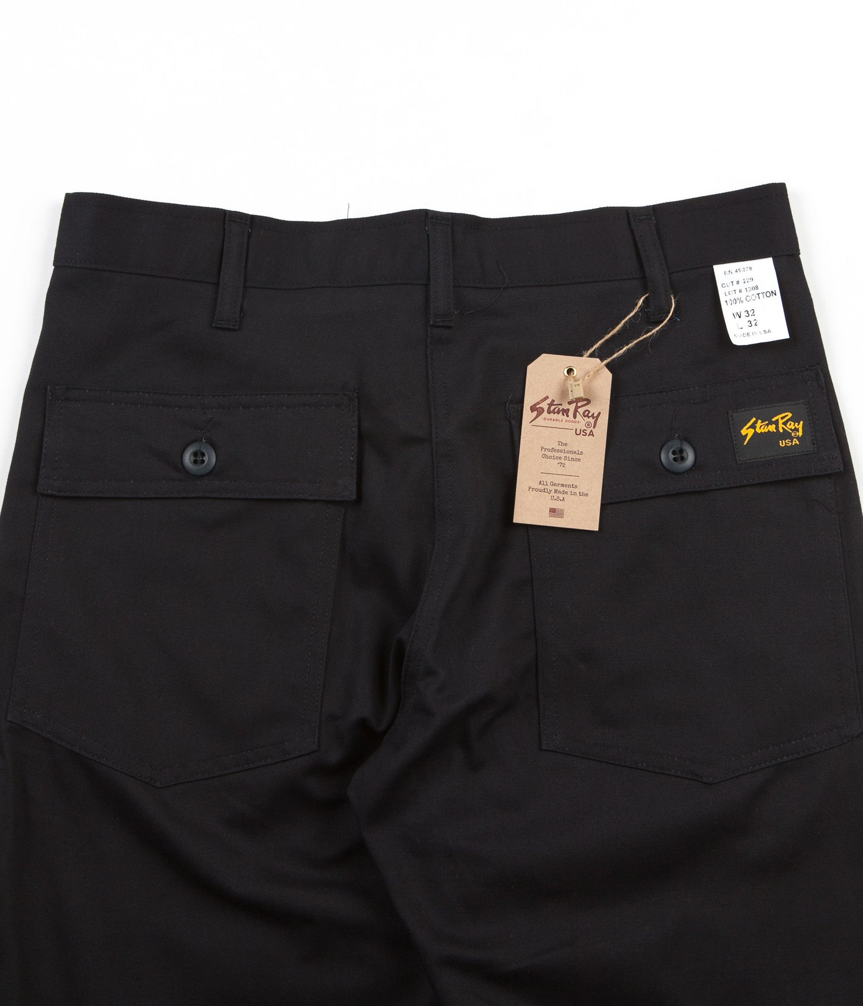 Stan Ray Slim Fit 4 Pocket Fatigue Trousers - Black Twill