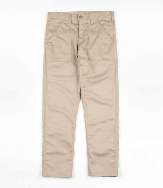 Stan Ray Slim Fit 4 Pocket Fatigue Trousers - Khaki Herringbone Twill