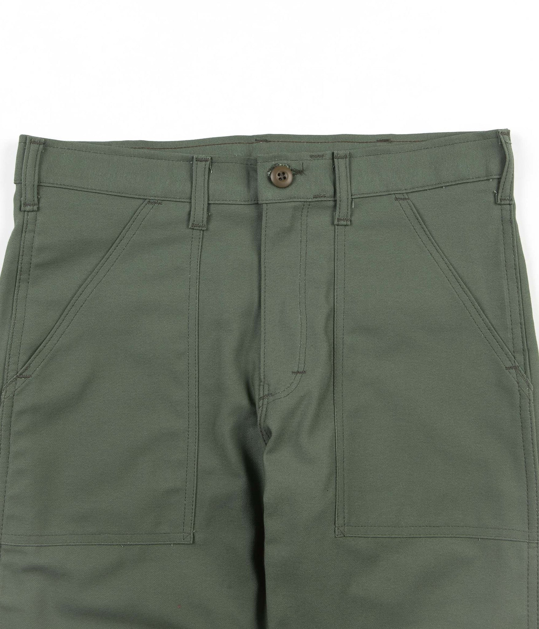 Stan Ray Slim Fit 4 Pocket Fatigue Trousers - Olive Sateen