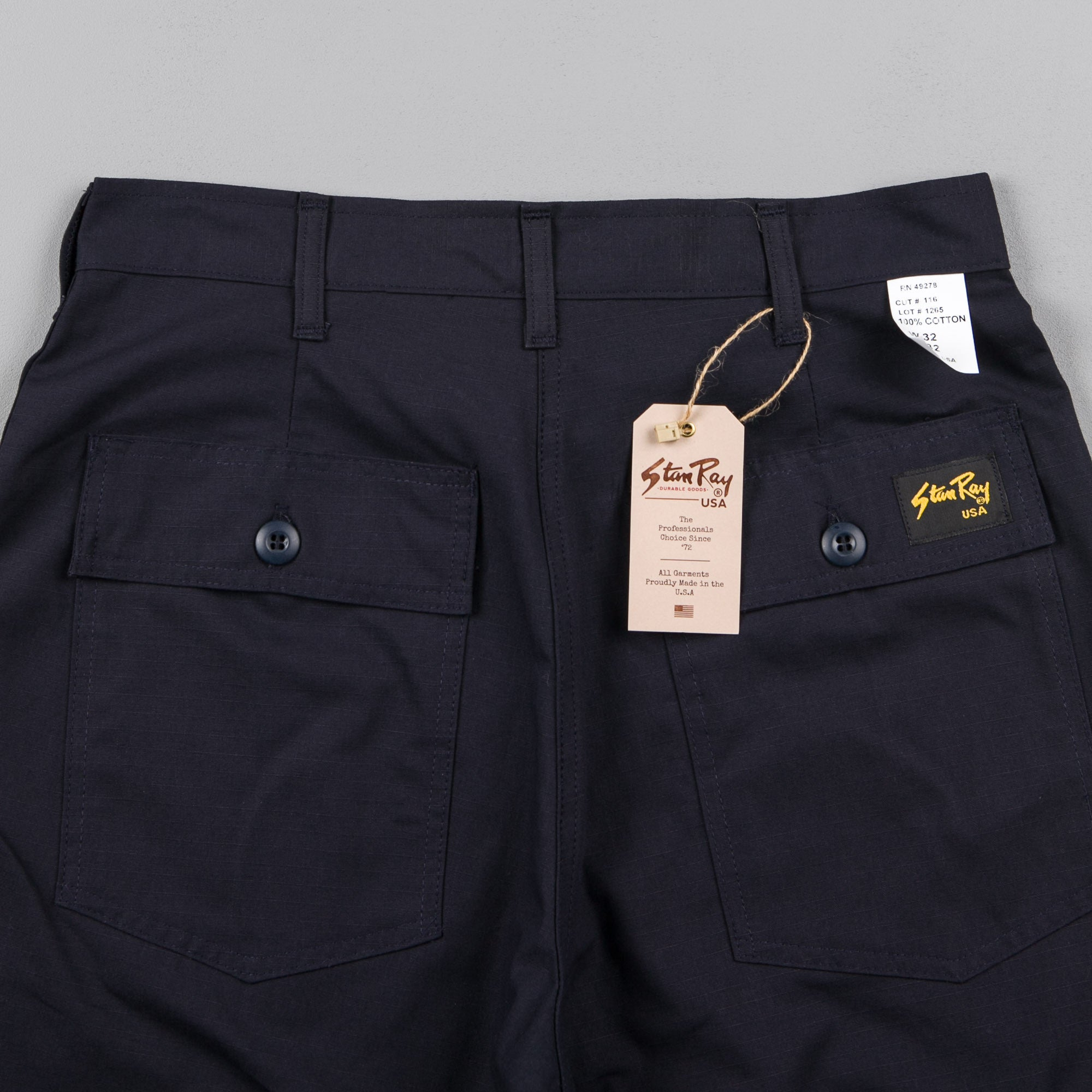 Stan Ray Taper Fit 4 Pocket Fatigue Trousers - Navy Rip Stop