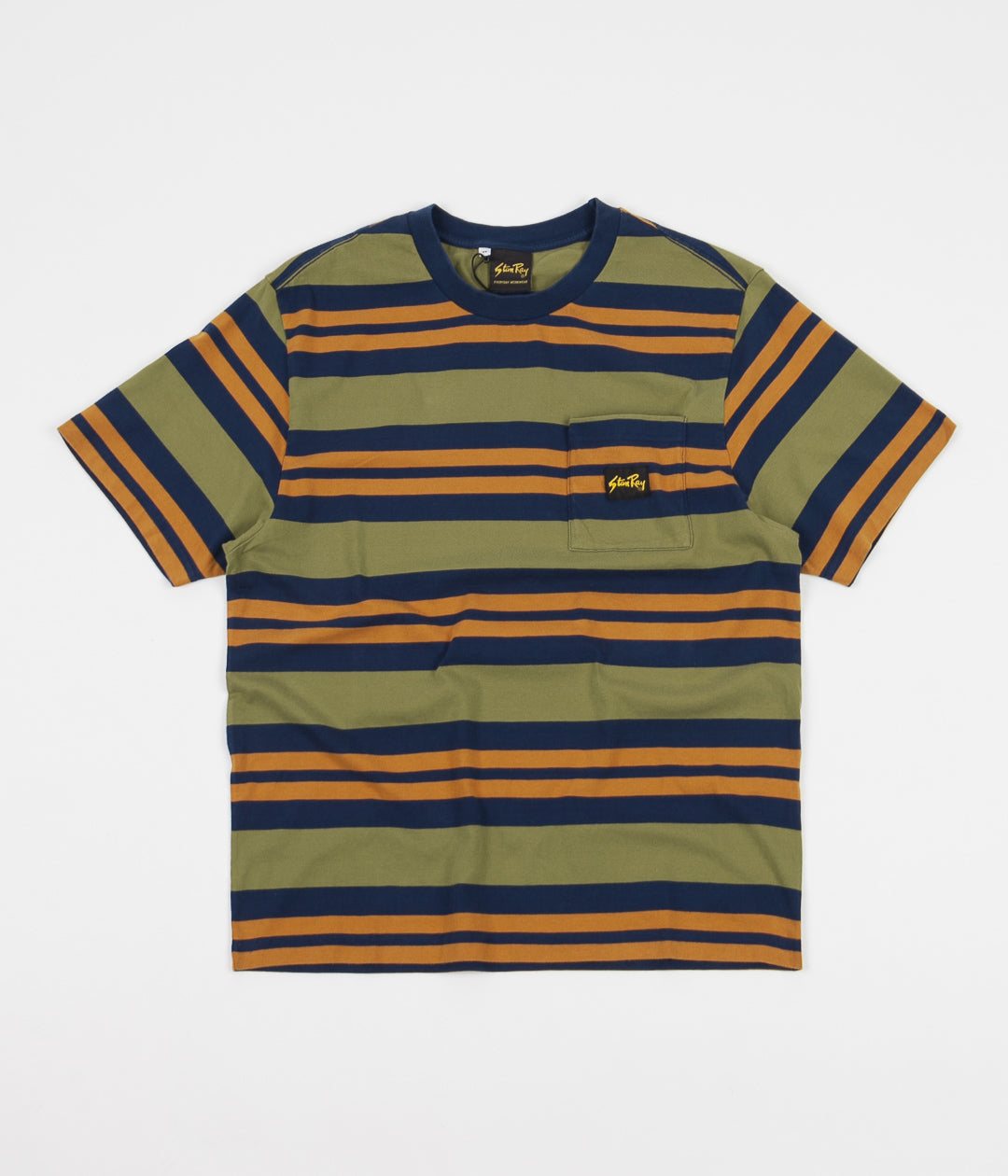 Stan Ray Yarn Dye Stripe Thick T-Shirt - Navy Border Stripe