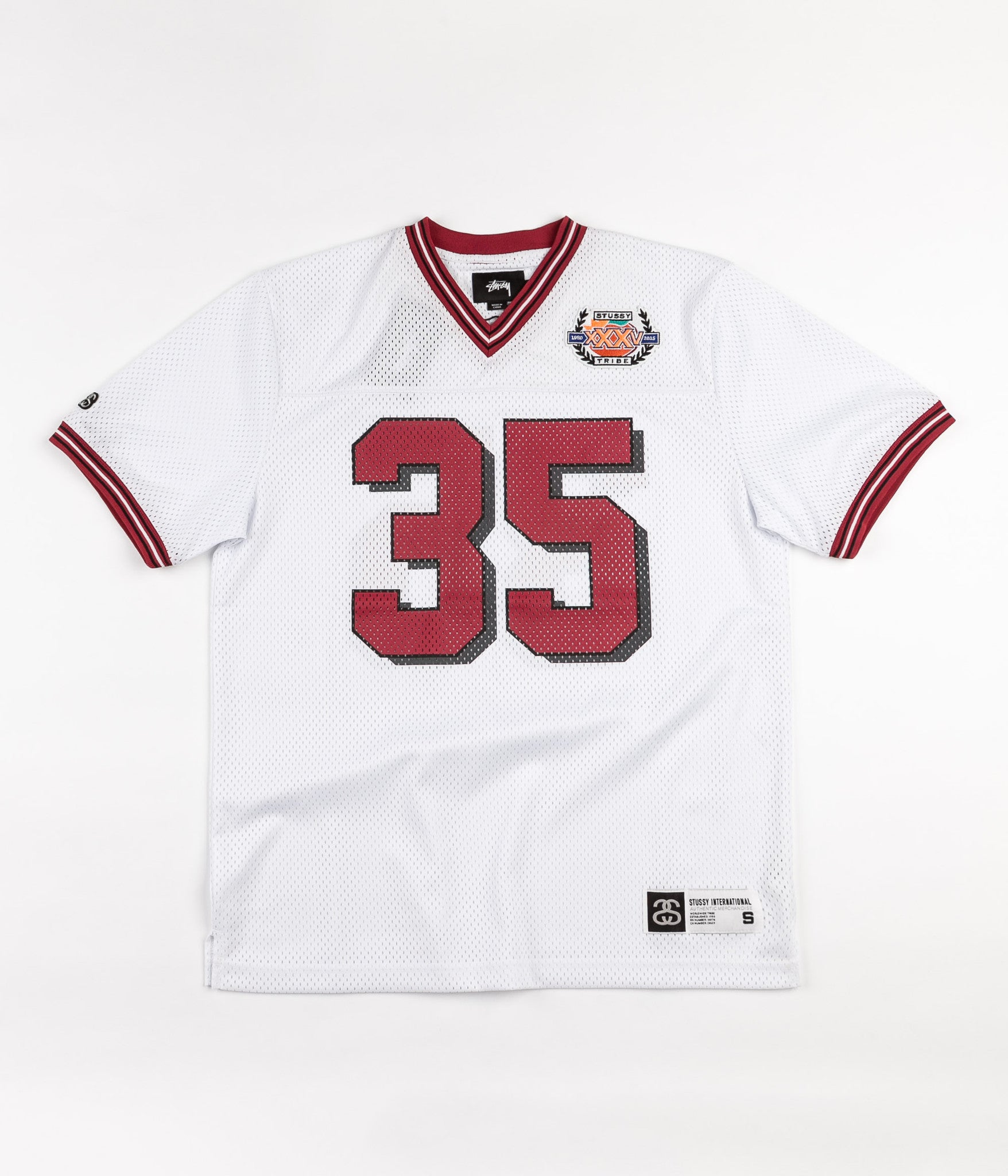 Stussy 35 Football Mesh Short Sleeve Jersey - White
