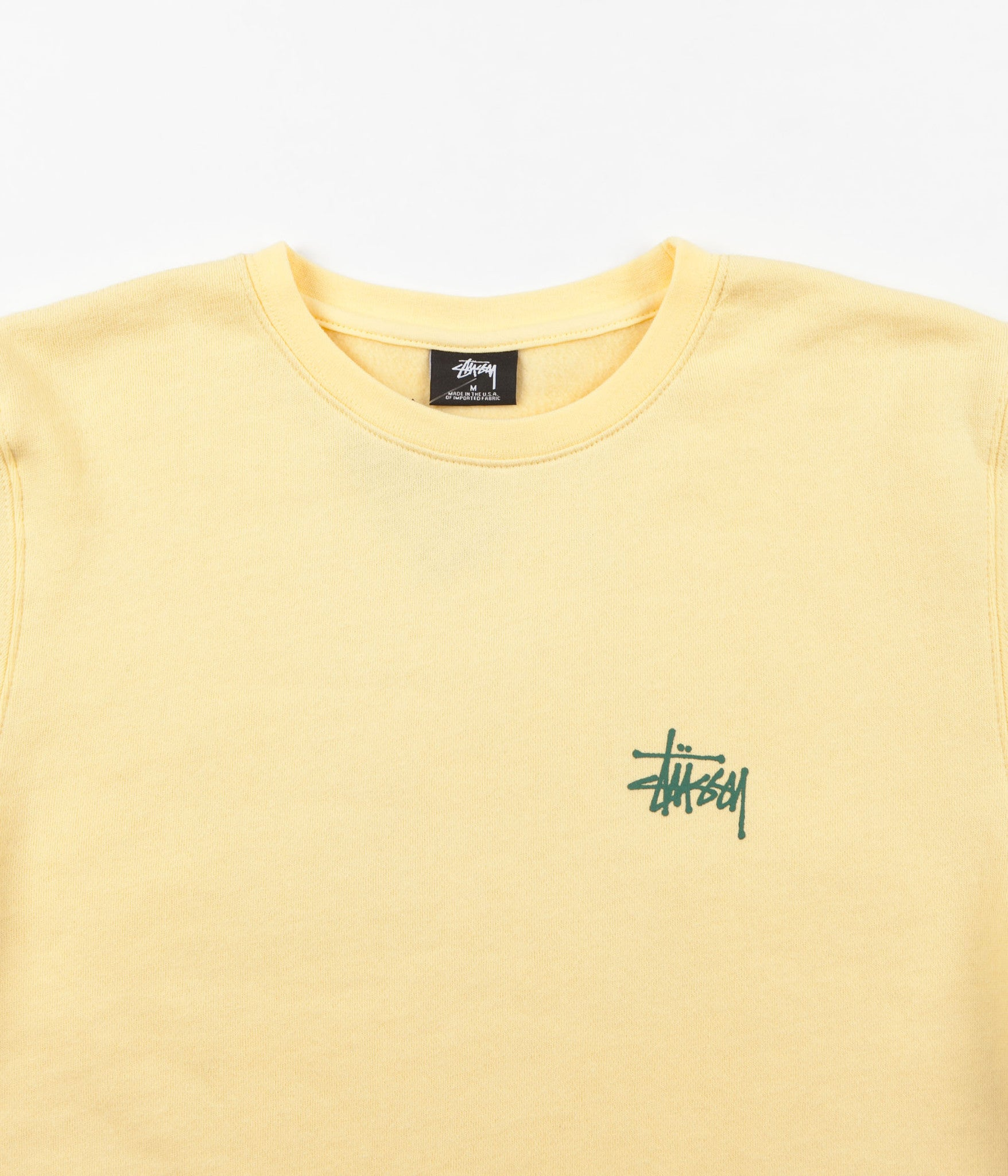 Stussy Basic Crewneck Sweatshirt - Pale Yellow