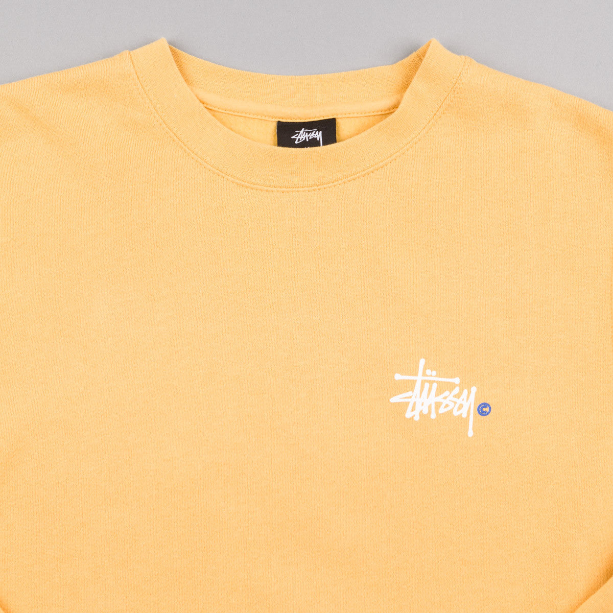 Stussy Basic Logo Crew Neck Sweatshirt - Faded Yellow