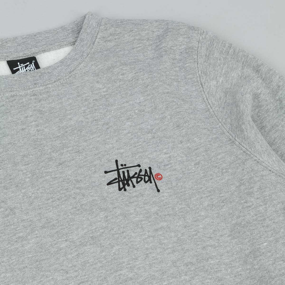 Stussy Basic Logo Crew Sweatshirt - Grey Heather