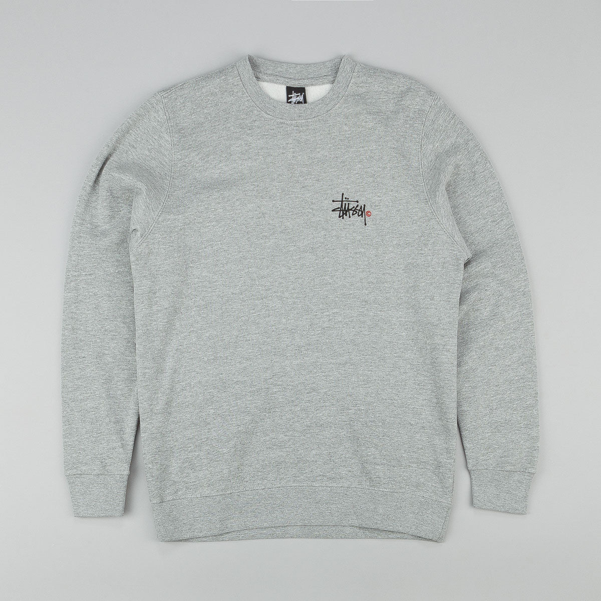 Stussy Basic Logo Crew Sweatshirt Grey Heather