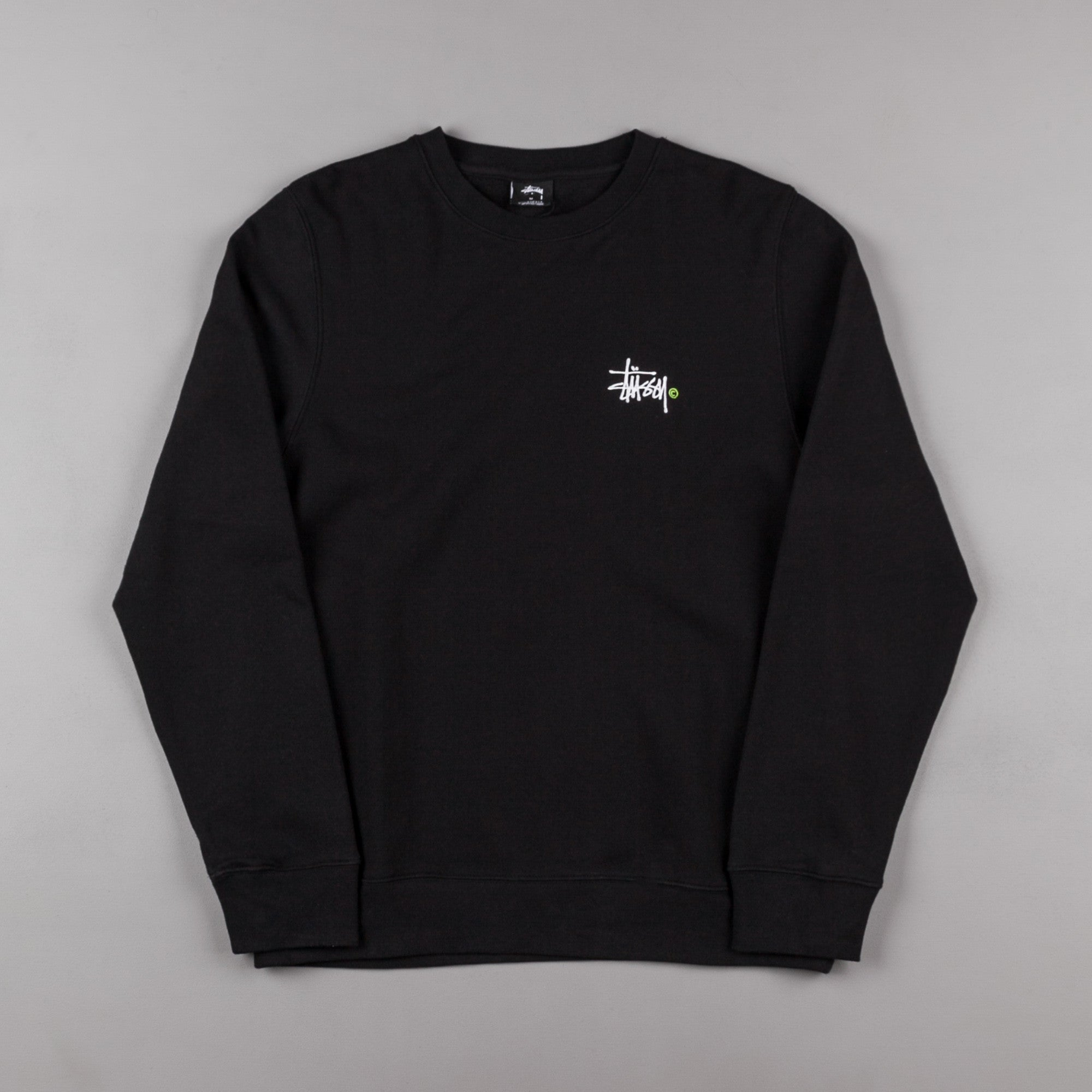 693531d3de Stussy Basic Logo Crewneck Sweatshirt - Black   Green