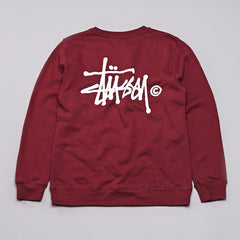 Stussy Basic Logo Crew Neck Sweatshirt Dark Red