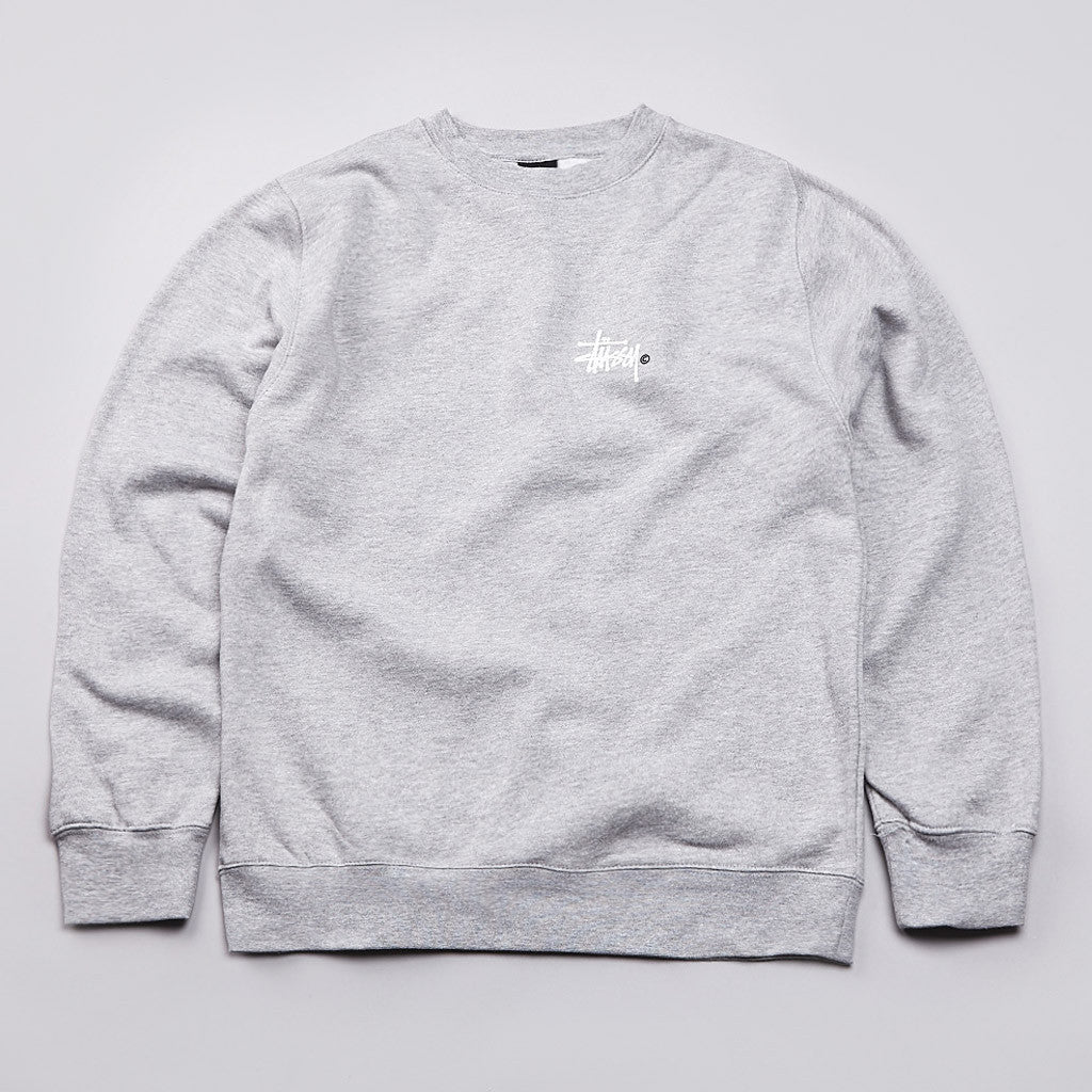 Stussy Basic Crew Neck Sweatshirt Grey Heather
