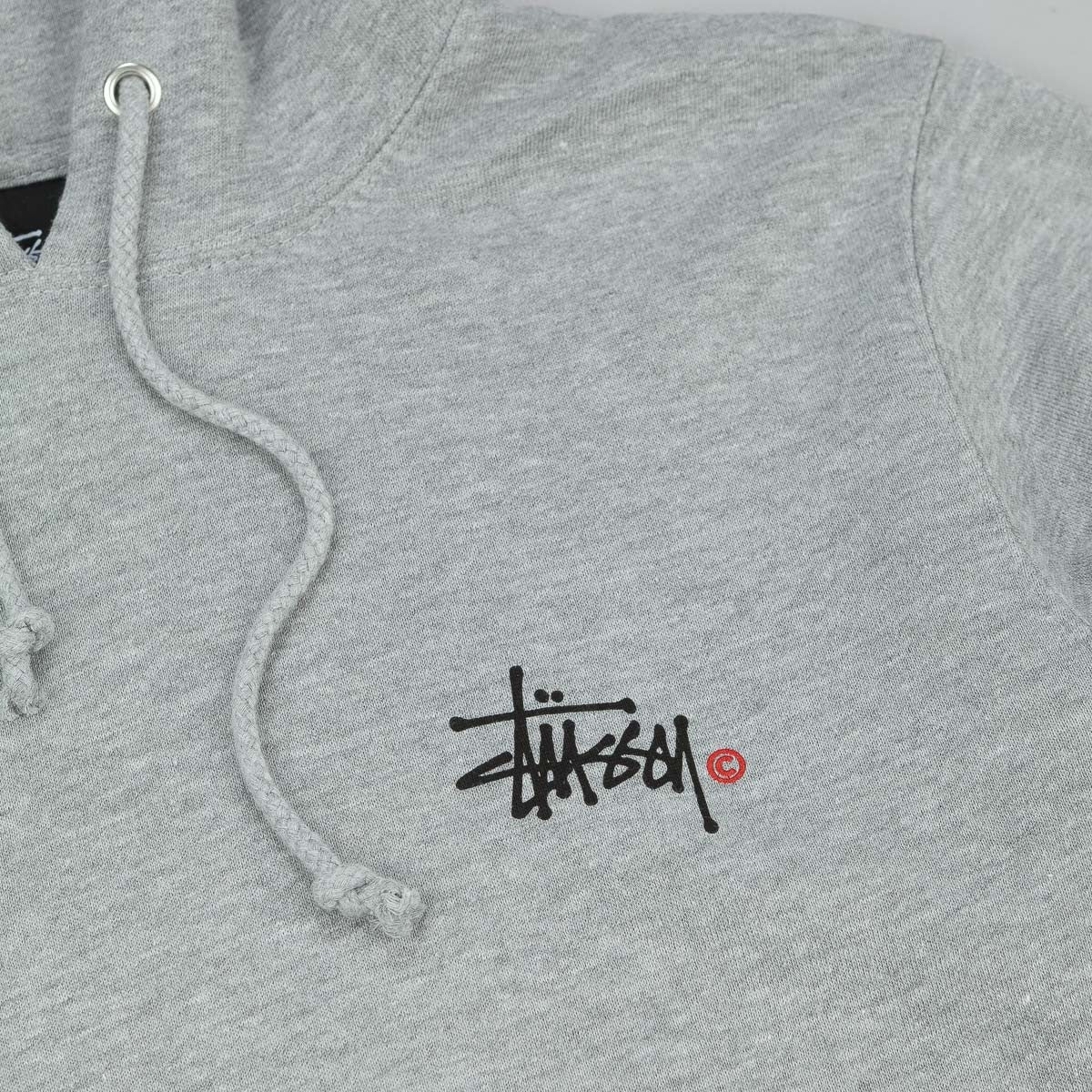 Stussy Basic Logo Hooded Sweatshirt - Grey Heather