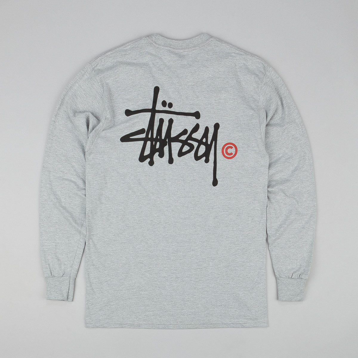 Stussy Basic Logo Long Sleeve T-Shirt - Grey Heather