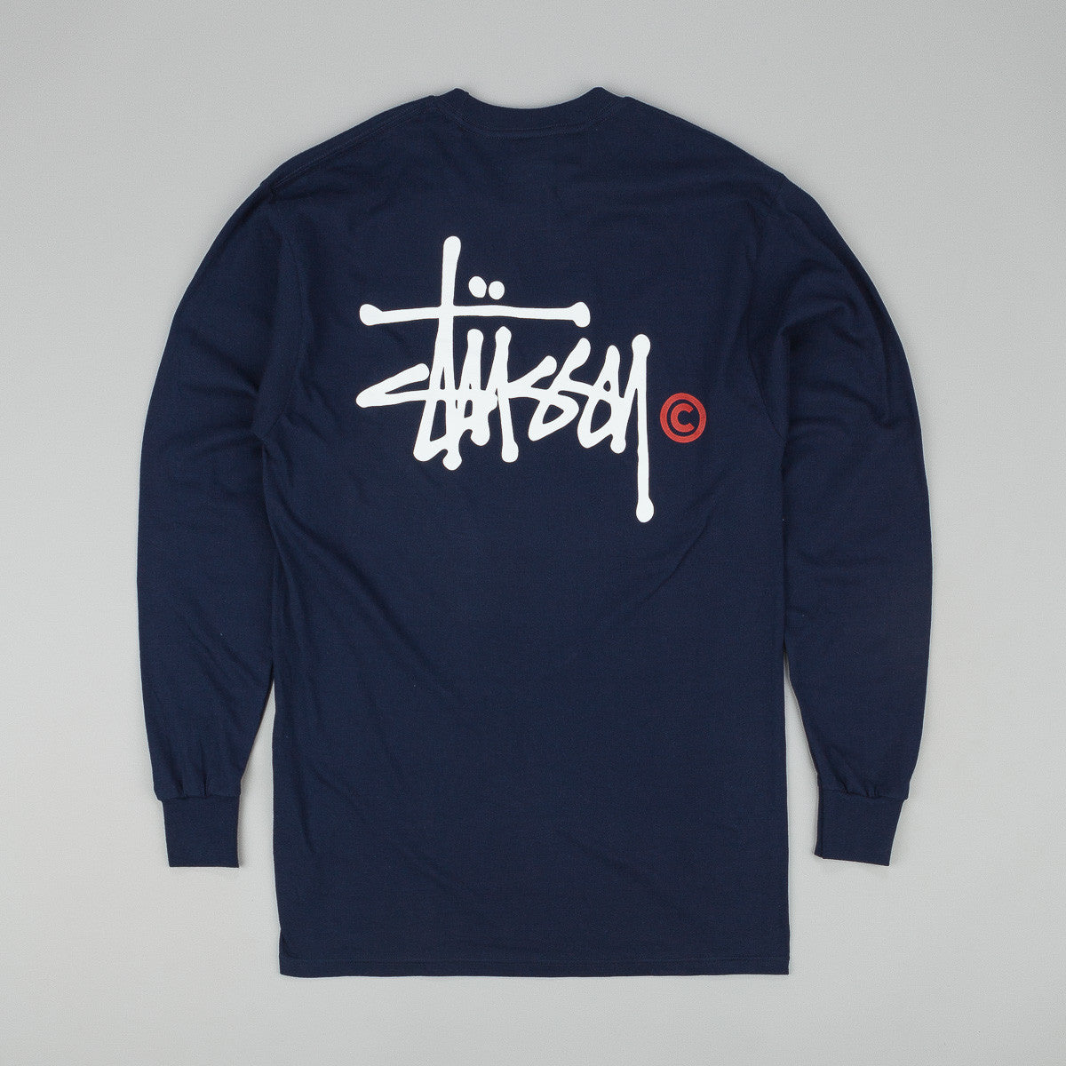 Stussy Basic Logo Long Sleeve T-Shirt - Navy
