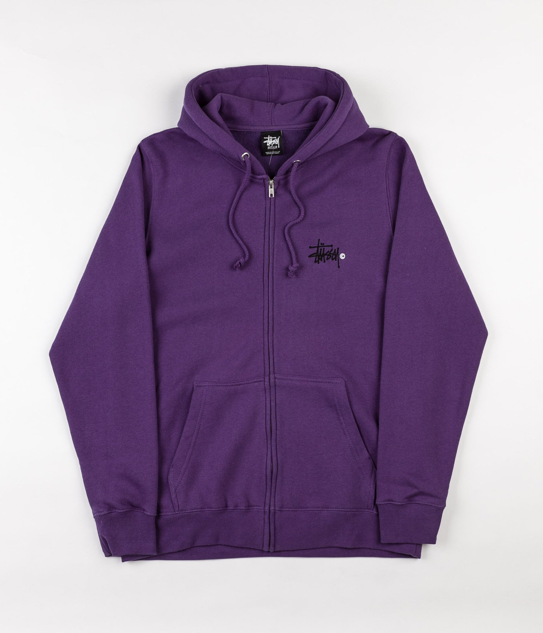 Stussy Basic Logo Zip Hooded Sweatshirt - Purple