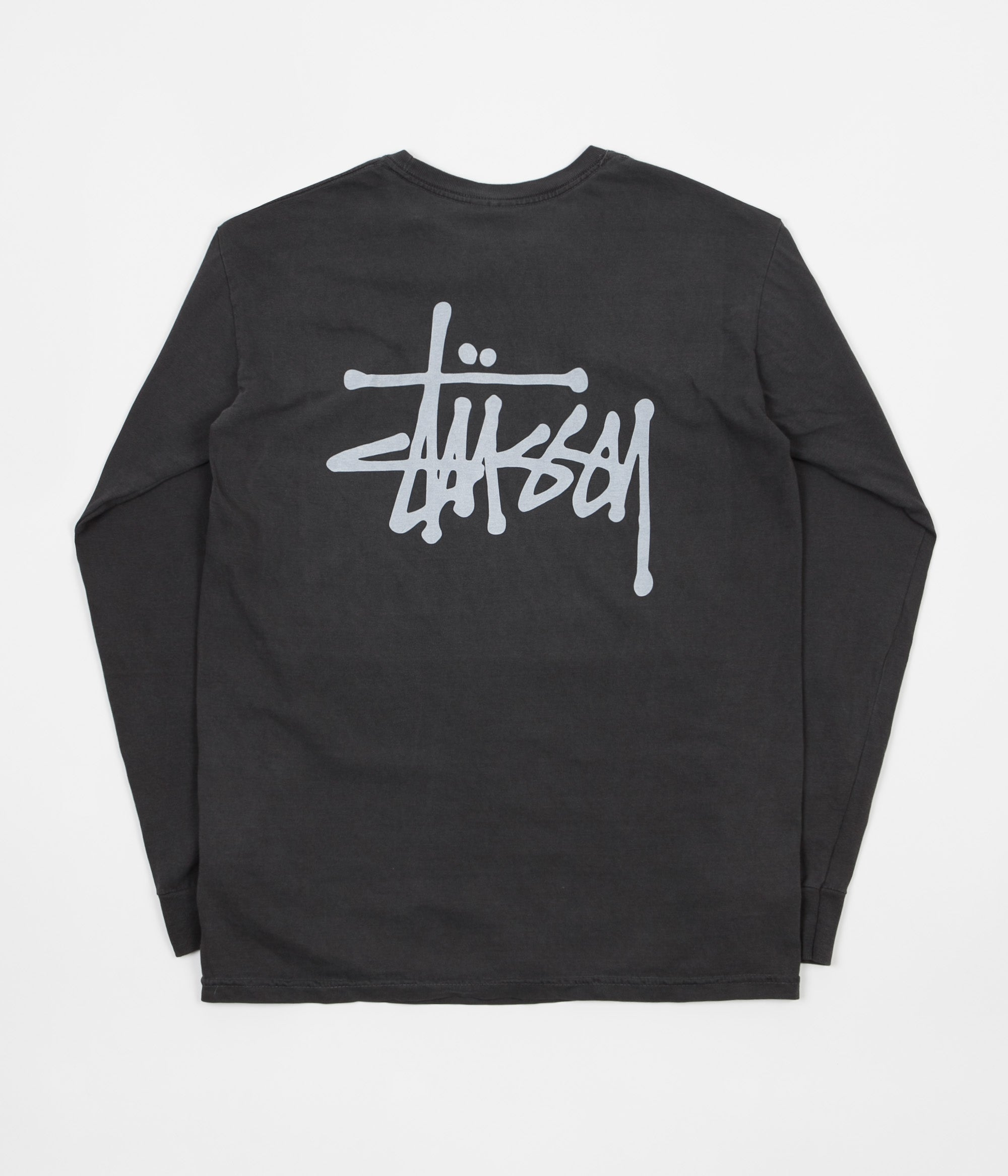 Stussy Basic Stussy Pigment Dyed Long Sleeve T-Shirt - Black