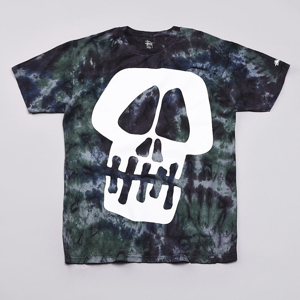 Stussy Big Skull T Shirt Tie Dye Green