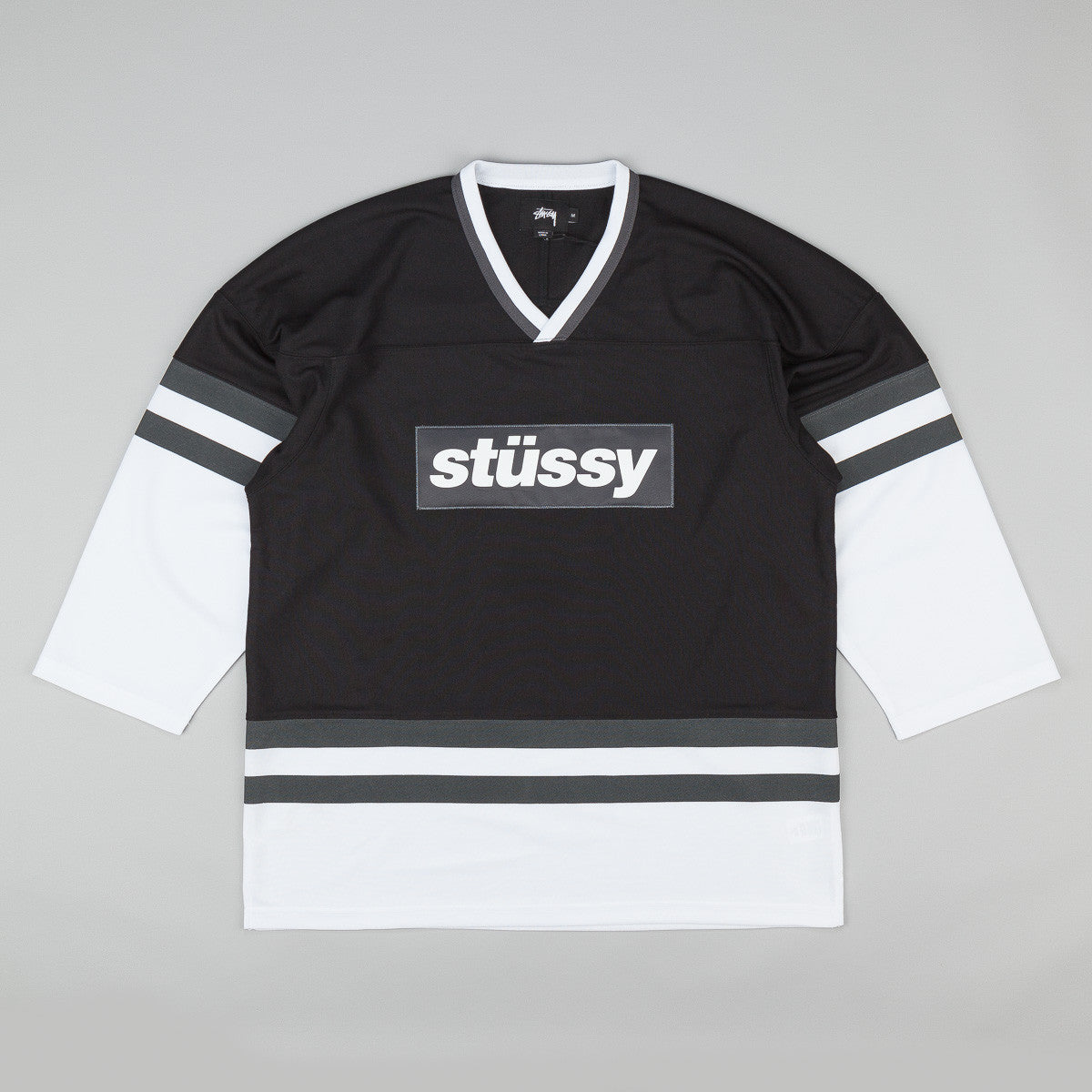 Stussy Block 3/4 Sleeve Hockey Sweatshirt - Black