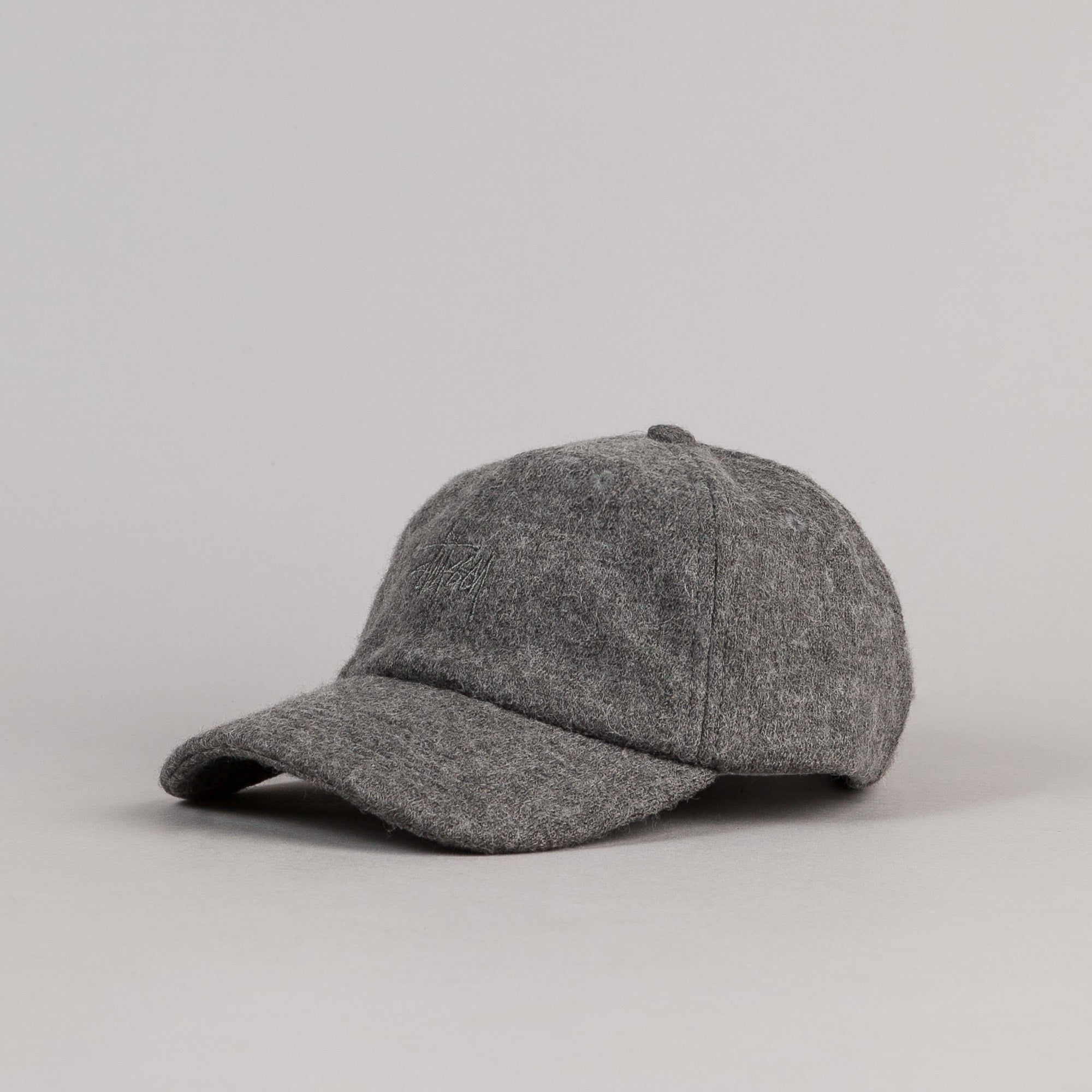 Stussy Boiled Wool Stock Logo Cap - Grey