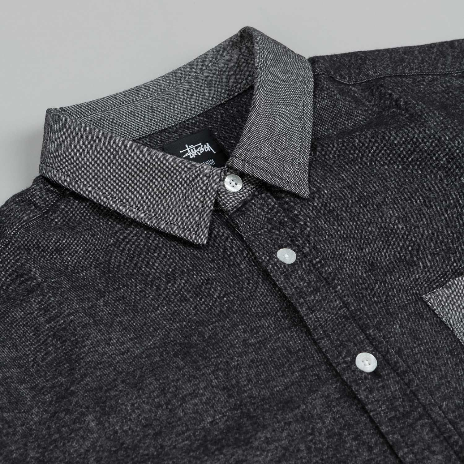 Stussy Brushed Chambray Mix Up L/S Shirt Charcoal