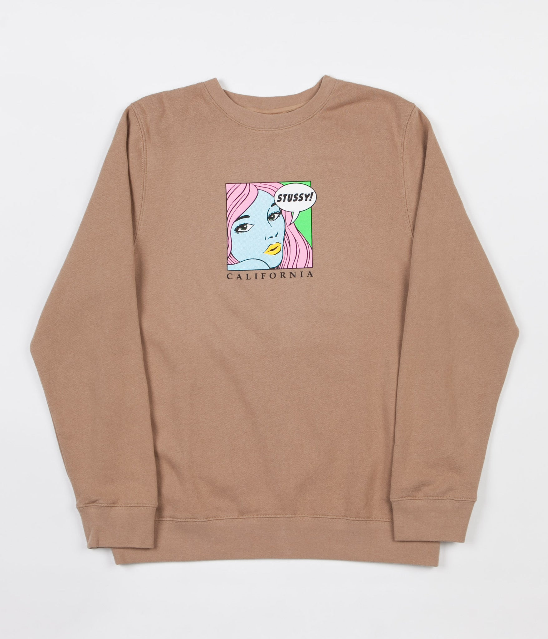 Stussy Cali Girl Crewneck Sweatshirt - Light Brown