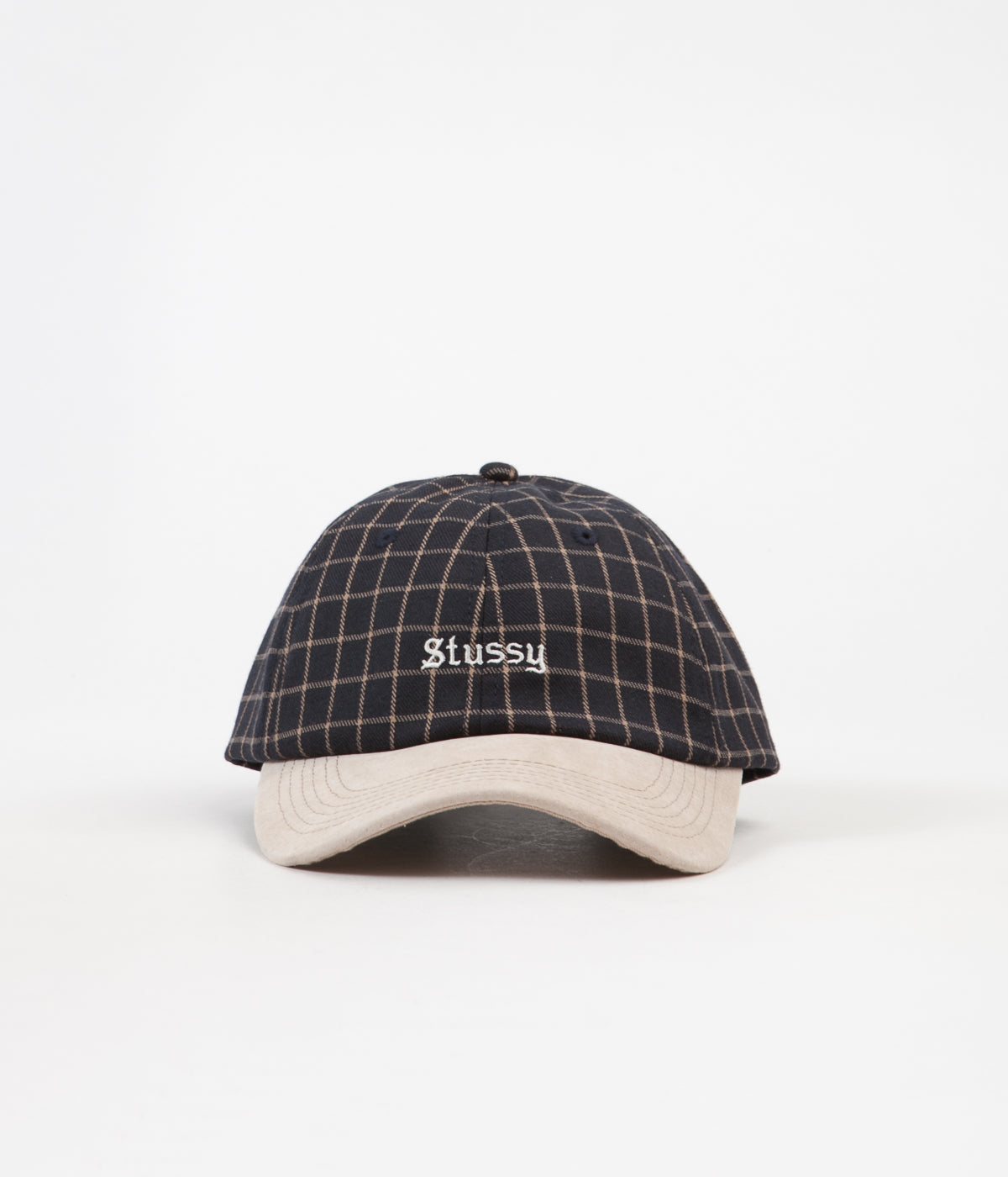 Stussy Check Suede Low Cap - Black