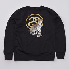 Stussy Cheetah Link Crew Neck Sweatshirt Black