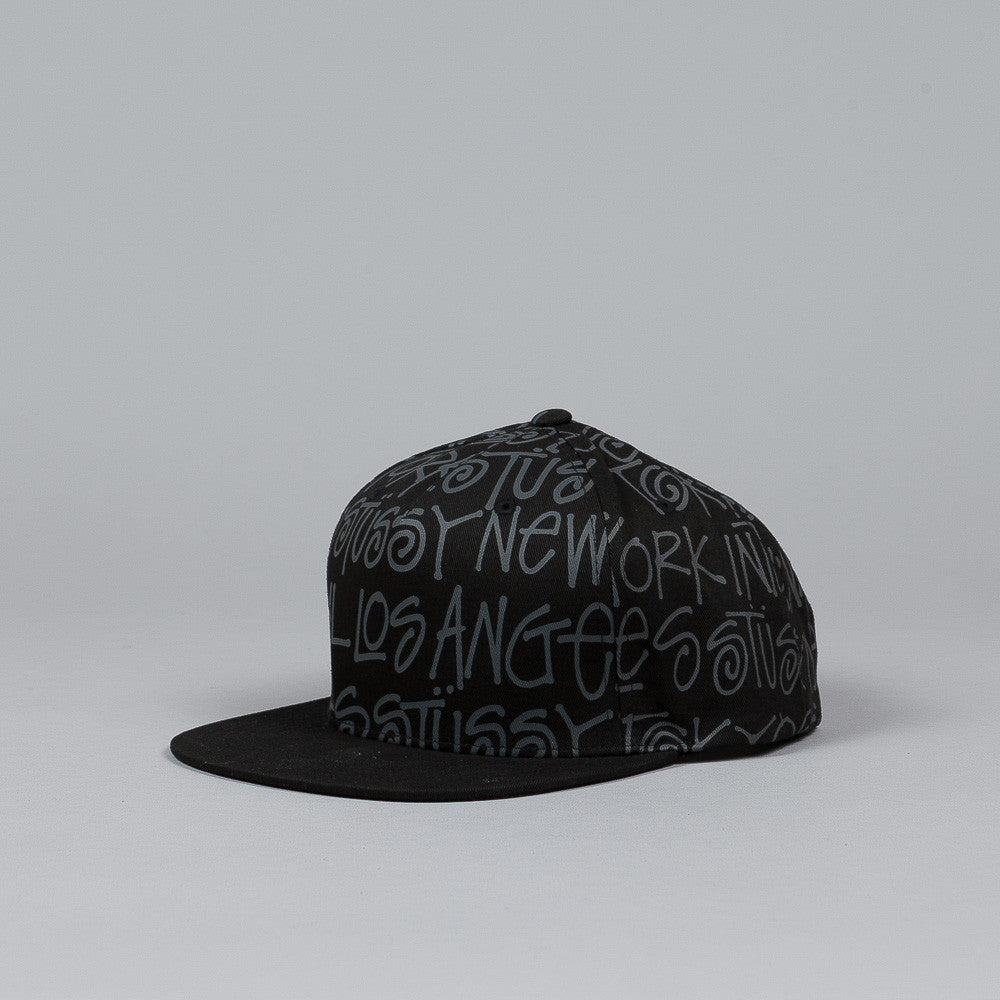 Stussy Cities Snapback Cap Black