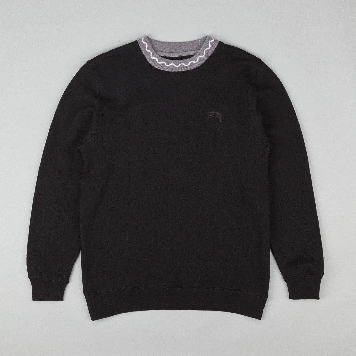 Stussy Crew Neck Jacquard Fleece Sweatshirt - Black