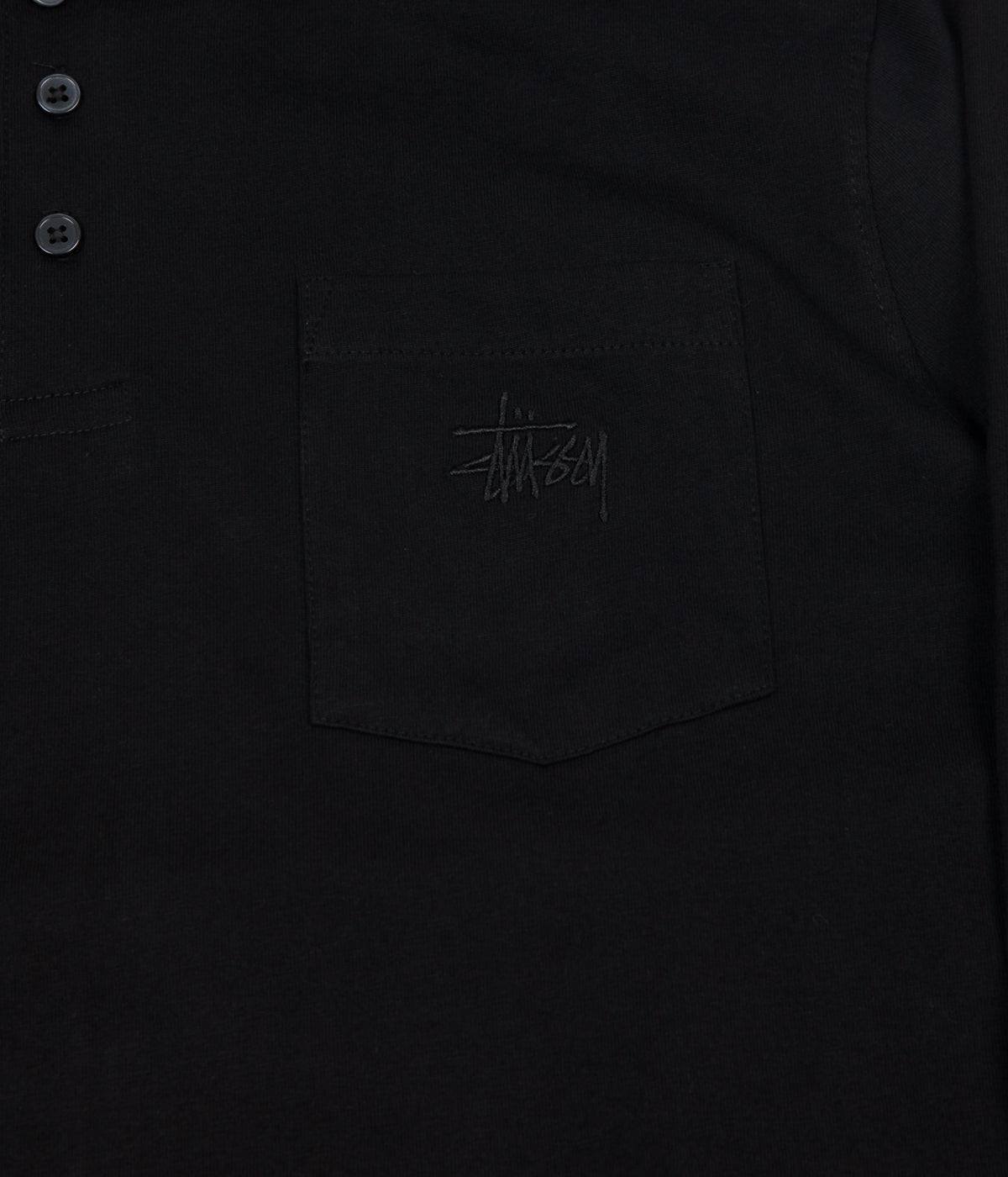 Stussy Dillon Long Sleeve Polo Shirt - Black