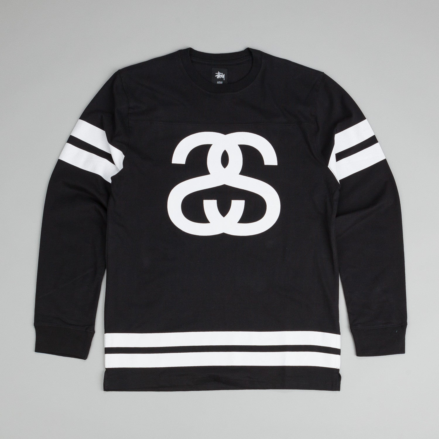 Stussy Double Stripe Football L/S T-Shirt Black