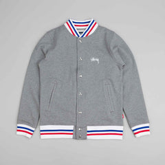 Stussy Fleece Varsity Jacket Grey Heather