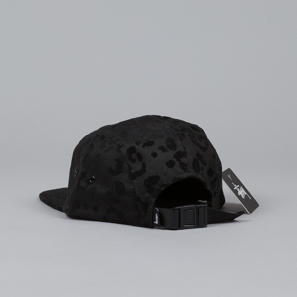 Stussy Flocked Leopard Camp Cap Black