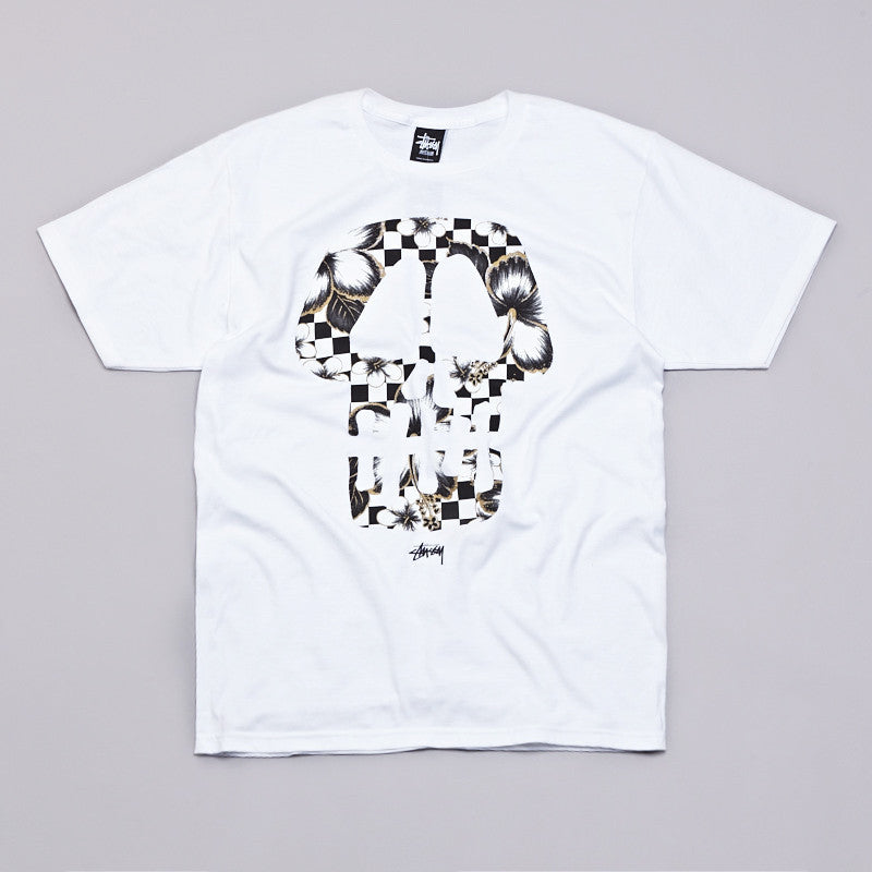 Stussy Flower Check Skull T Shirt White