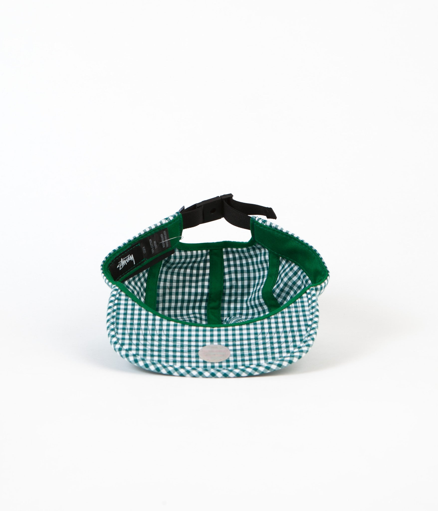 Stussy Gingham Stock Camp Cap - Green