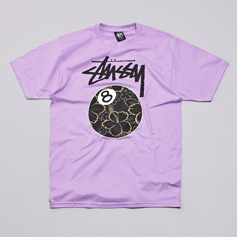 Stussy Gold Flake 8 Ball T Shirt Lavander