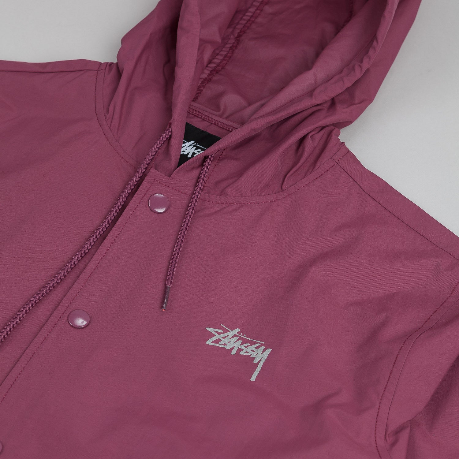Stussy Hooded Long Jacket - Burgundy