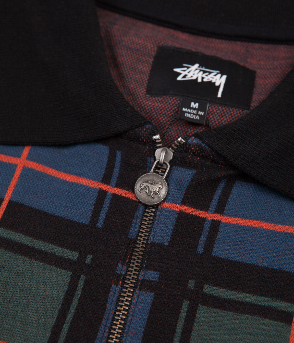 Stussy Lion Zip Pocket Polo Shirt - Blue