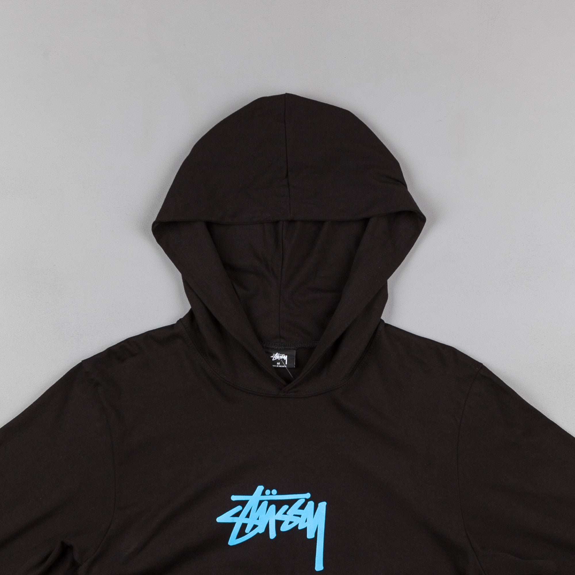 Stussy Marker Stock Hooded Long Sleeve T-Shirt - Black