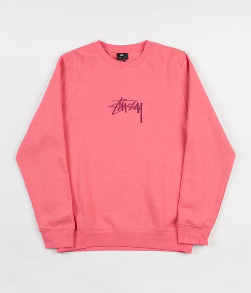 Stussy New Stock Applique Crewneck Sweatshirt - Dark Pink
