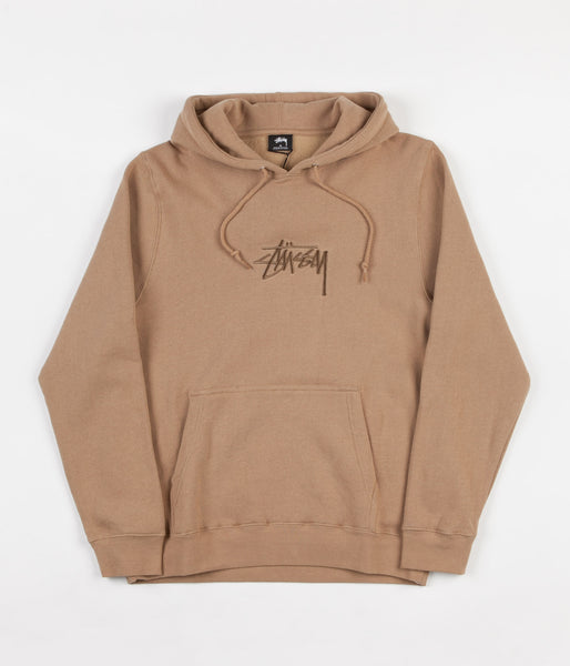 Stussy New Stock Applique Hooded Sweatshirt - Light Brown