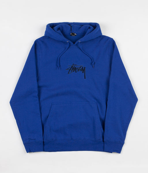 Stussy New Stock Applique Hooded Sweatshirt - Dark Blue