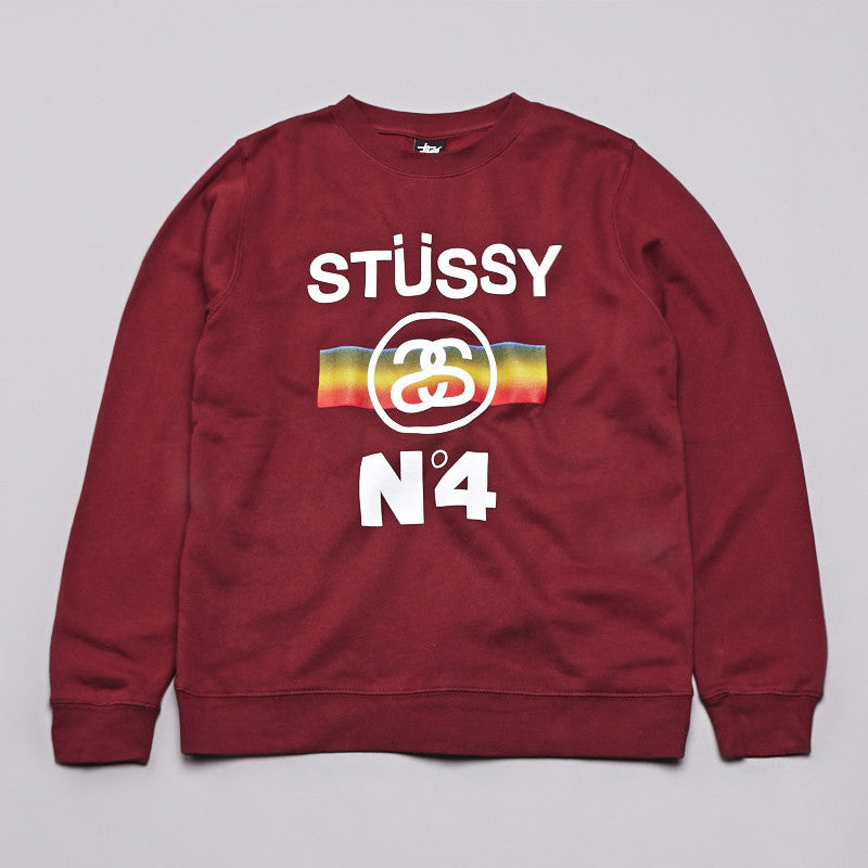 Stussy No4 Fade Crew Sweatshirt Deep Red