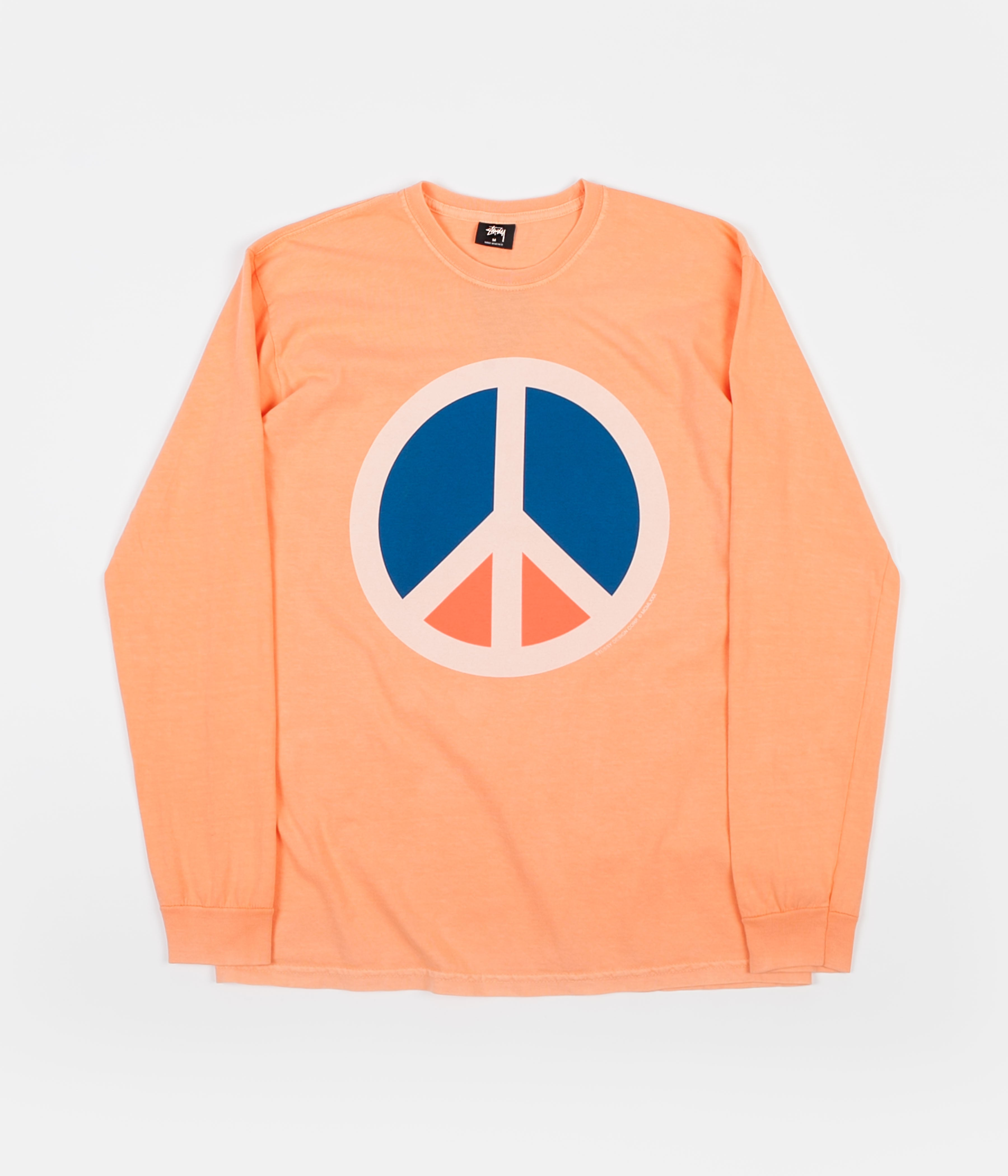 Stussy Peace Pigment Dyed Long Sleeve T-Shirt - Coral