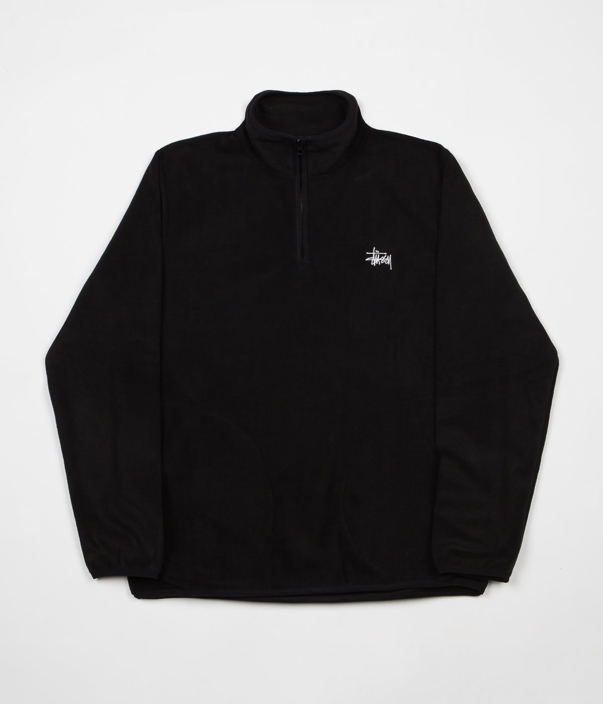 Stussy Polar Fleece Half Zip Sweatshirt - Black