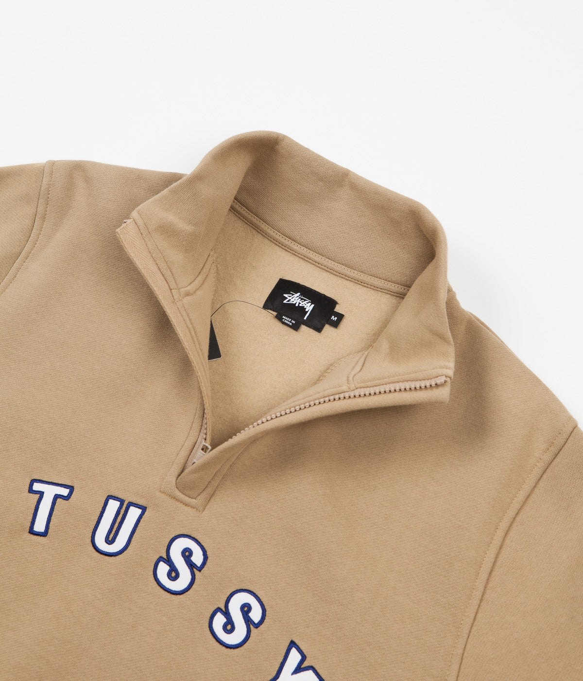 Stussy Quarter Zip Mock Neck Sweatshirt - Tan