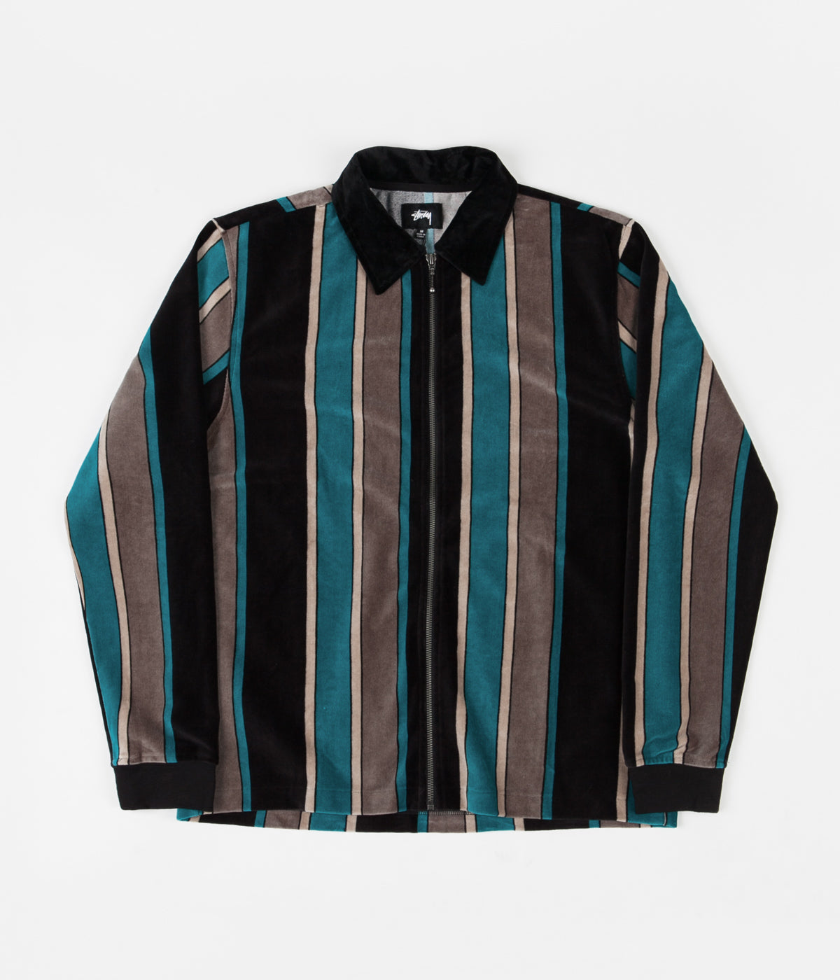 Stussy Roland Stripe Full Zip Jacket - Black