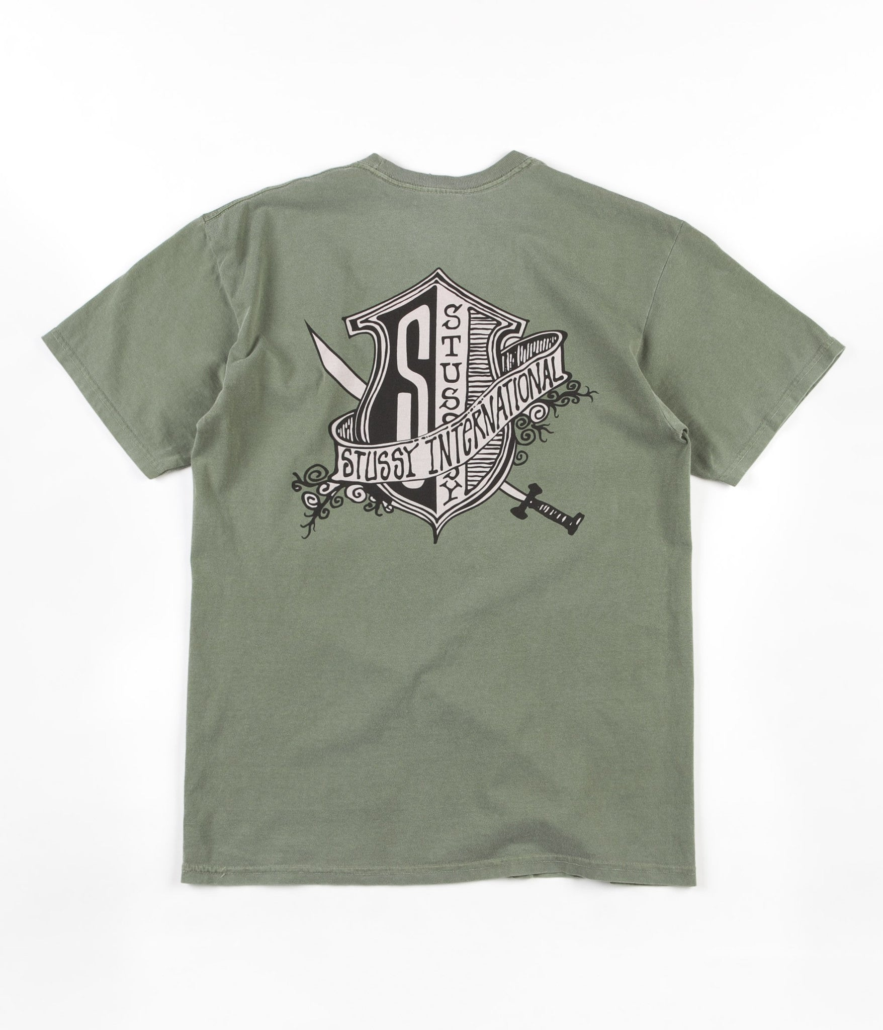 Stussy S Shield Pigment Dyed T-Shirt - Olive