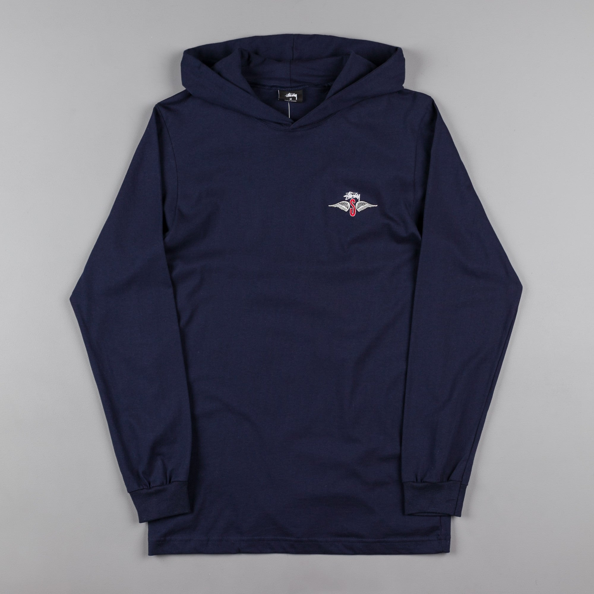 Stussy S Wings Long Sleeve Hooded T-Shirt - Navy