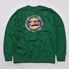 Stussy Safari Dot Crew Neck Sweatshirt Forest